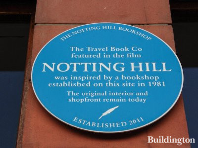 The Notting Hill Bookshop. The Travel Book Co featured in the film Notting Hill was inspired by a bookshop established on this site in 1981. The original interior and shopfront remain today. Established 2011.