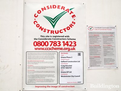 Oriana phase II Considerate Constructors scheme banner on Oxford Street, London W1.