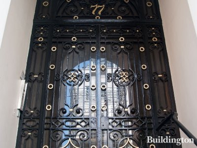 Entrance to 77 Brook Street in Mayfair, London W1.