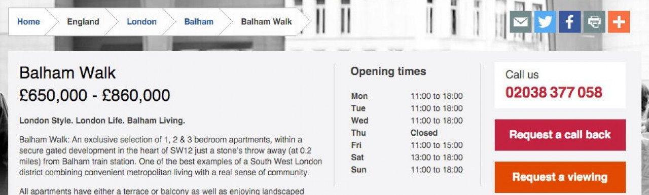 Screen capture of Balham Walk development page on Taylor Wimpey website www.taylorwimpey.co.uk
