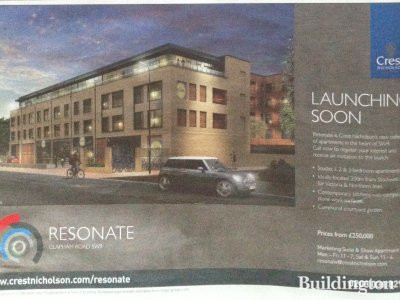 Image of the Resonate development advert in Homes & Property/Evening Standard
