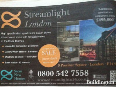 Image of Streamlight development advert in Homes & Property/Evening Standard